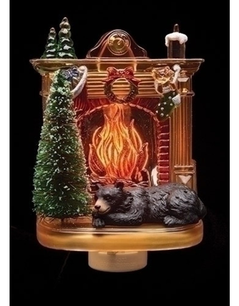 Black Bear by Fireplace Night Light