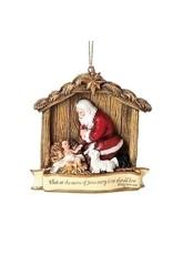 Kneeling Santa in Manger Ornament