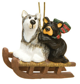 Bearfoots Bear and Sled Dog Ornament