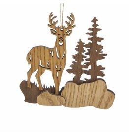 Wood Deer Scene Ornament