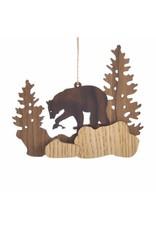 Wood Bear Scene Ornament