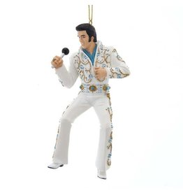 White and Aqua Jumpsuit Elvis Ornament