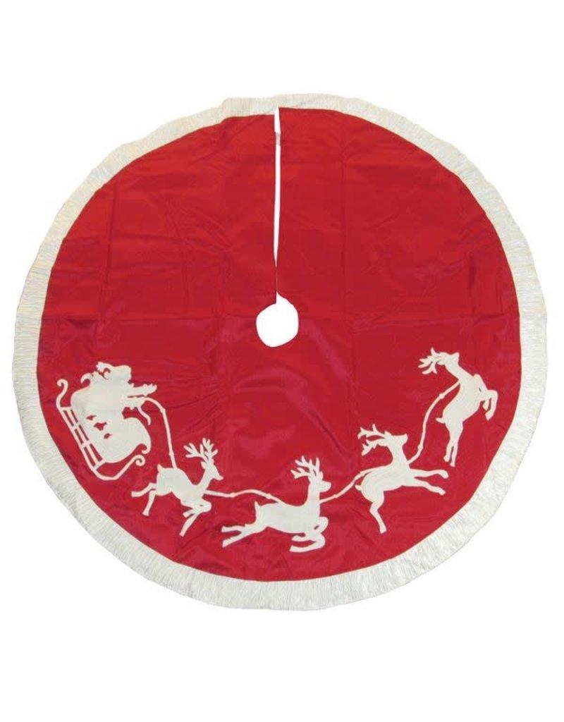 Embroidered Santas Sleigh Treeskirt