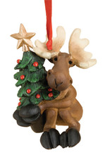 Bearfoots Tree Hugging Moose Ornament