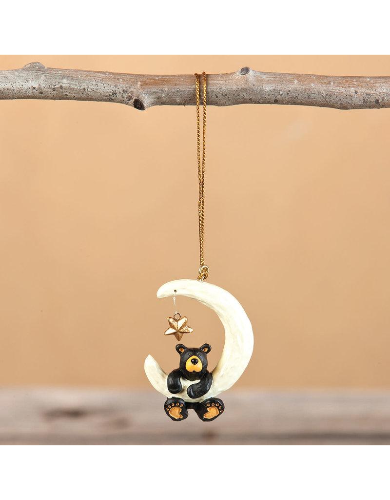 Bearfoots Bear Over the Moon Ornament