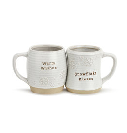 Snowflake Kisses Warm Wishes Cuddle Mug Set of 2