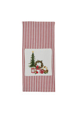 Tree and Wreath Embroidered Stripe Towel
