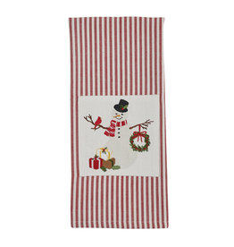 Snowman with  Wreath Embroidered Stripe Towel