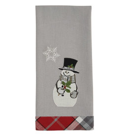 Snowman with Holly Plaid Trim Towel