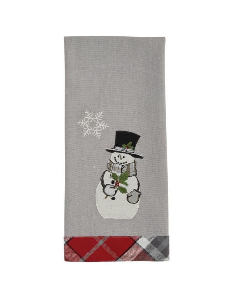Snowman with Holly Plaid Trim Towel