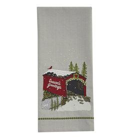 Seasons Greetings Bridge Embroidered Towel