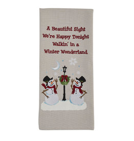 Snowman Lamp Post Embroidered Towel