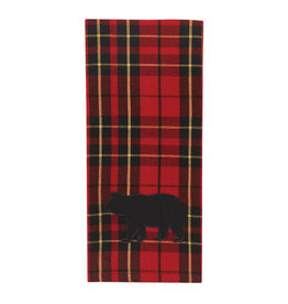 Plaid Bear Applique Towel