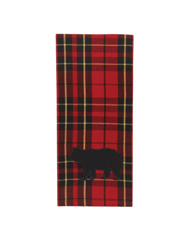 Plaid Bear Applique Towel
