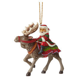 Jim Shore Santa Riding Moose Ornament