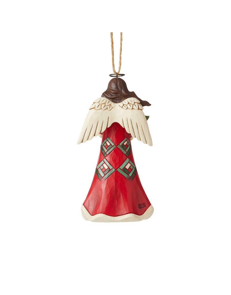 Jim Shore Red and Green Angel Ornament