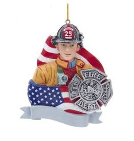 Fireman with Flag and Badge Ornament