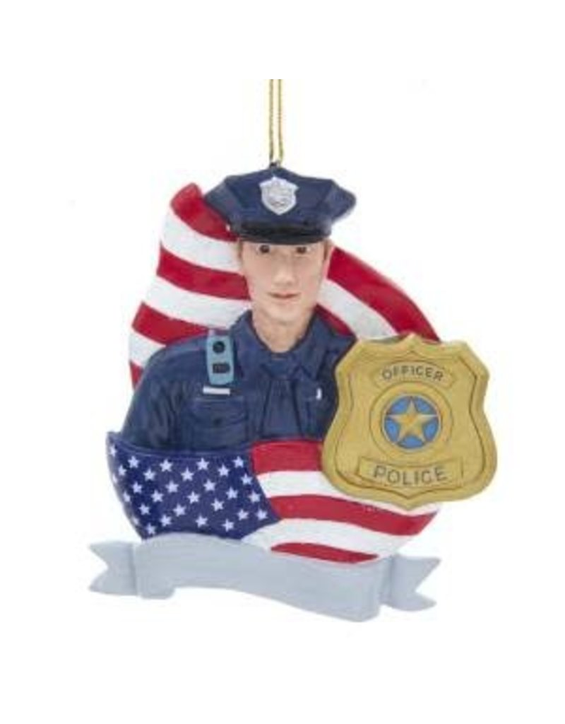 Policeman with Flag and Badge