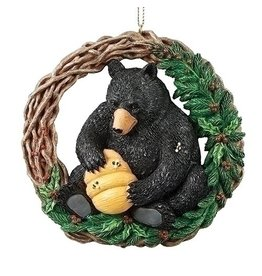 Black Bear with Beehive Ornament