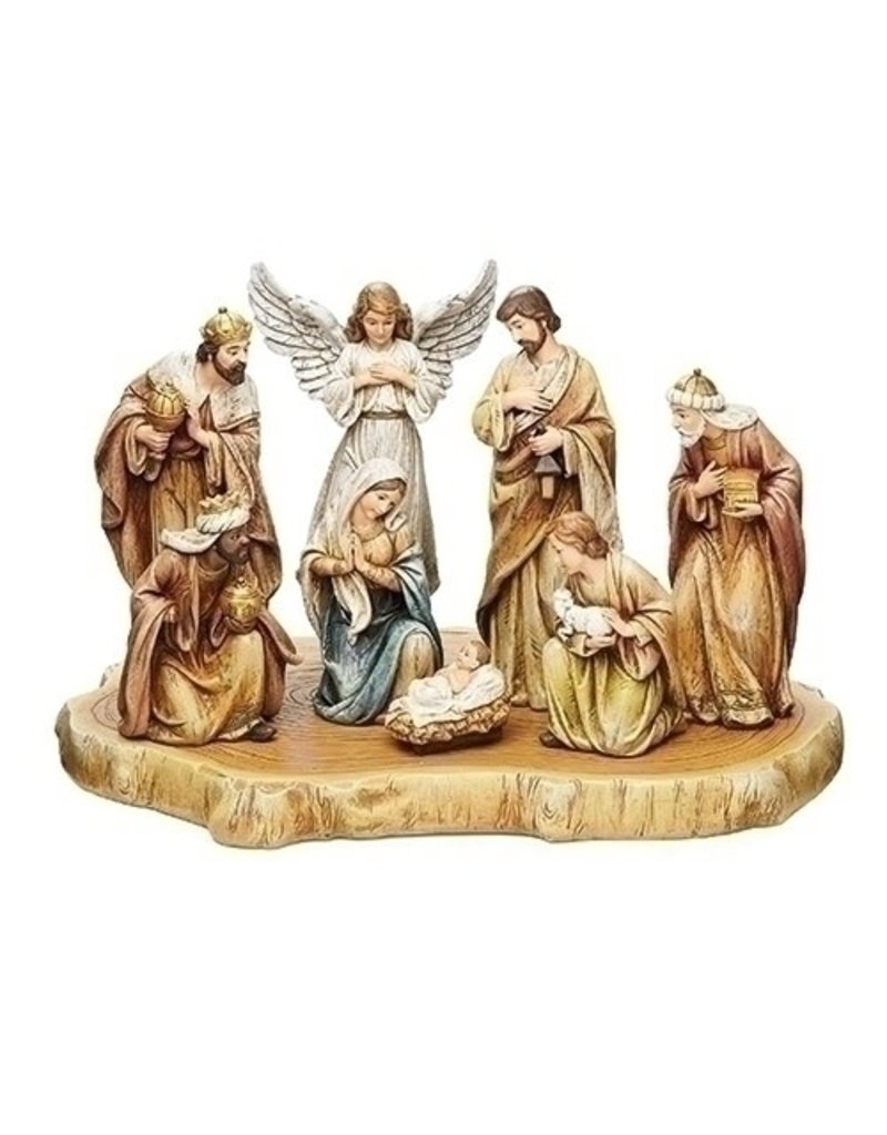 Nativity on Wood Set of  9