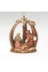 Fontanini Woodtone Holy Family Ornament