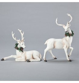 White Deer with Wreath Set of 2