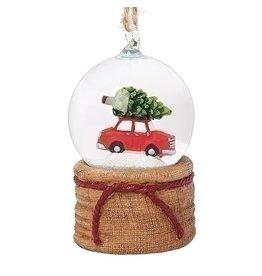 Mini Red Car with Tree Glitterdome Ornament