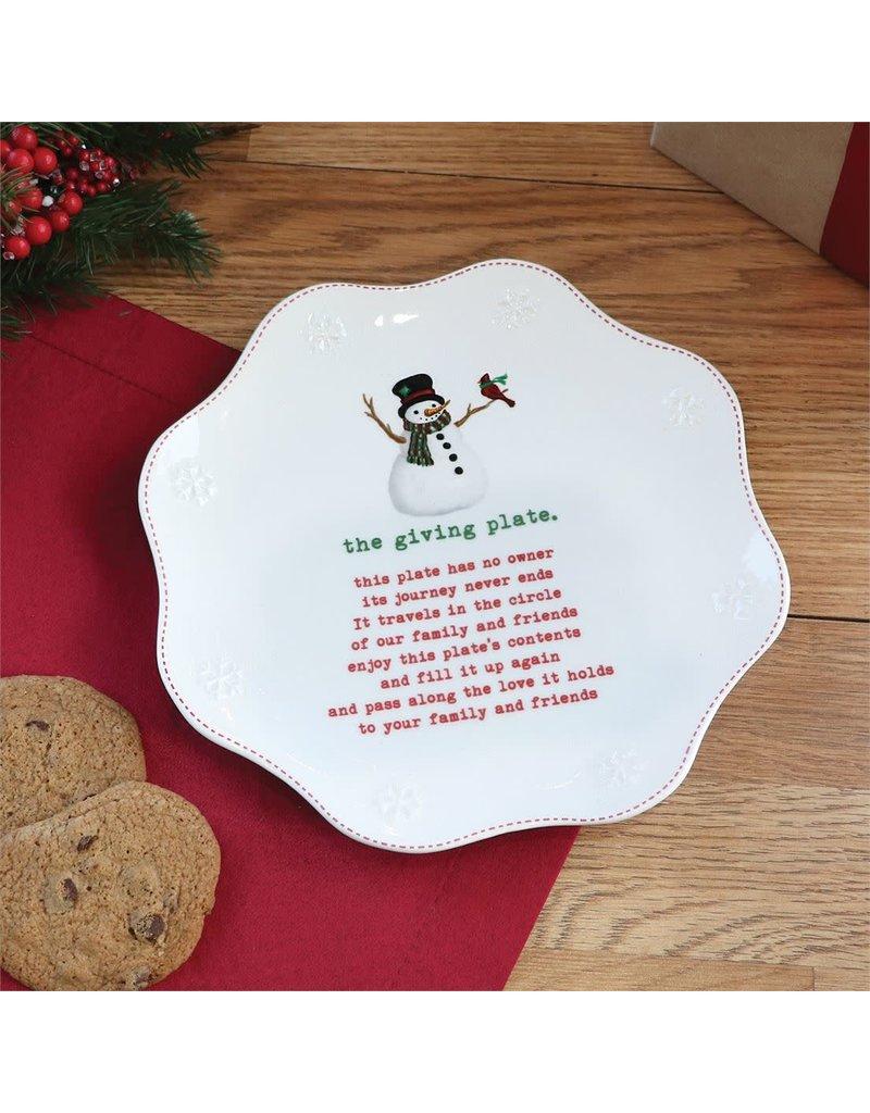 Snowman Giving Plate
