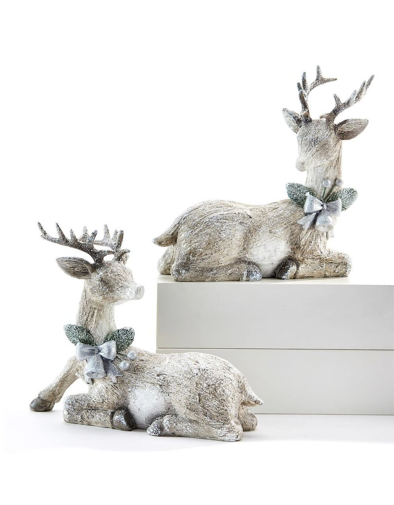Snowy White Deer with Bow Set of 2