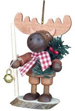 Wood Natural Elk Ornament