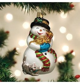 Old World Christmas Snowman with Playful Pets