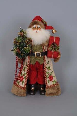 Karen Didion Lighted Woodland Embroidery Santa