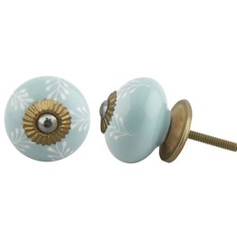 Round Ceramic Knob - Sea Green & White Leaf