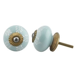 New Round Ceramic Knob - Sea Green & White Leaf