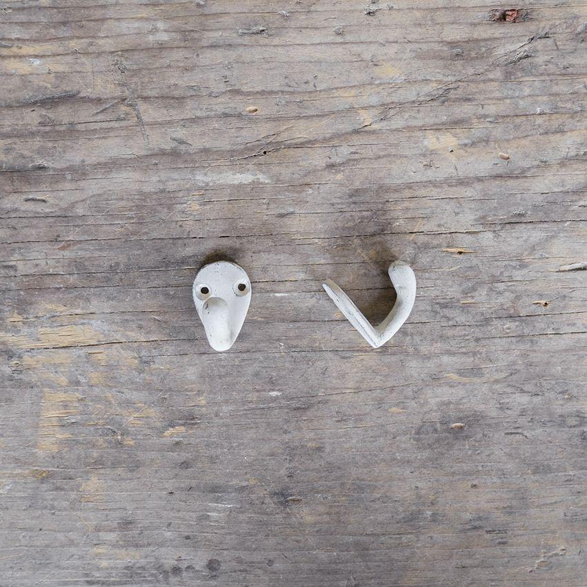 New Cast Iron Mini Hook - White