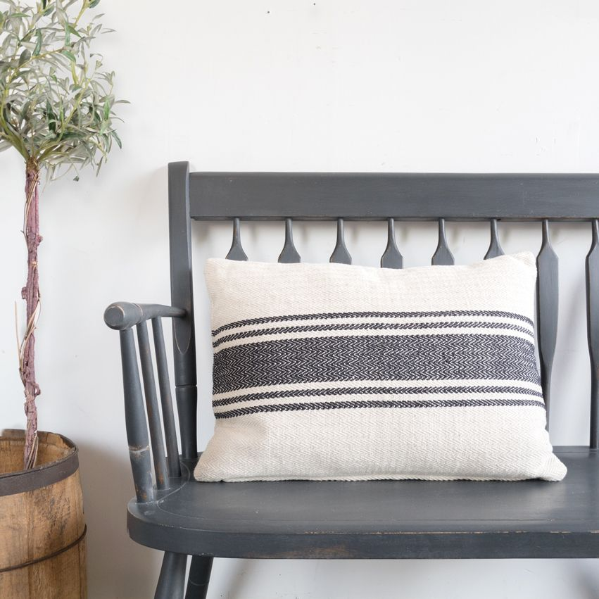 New Striped Canvas Throw Pillow