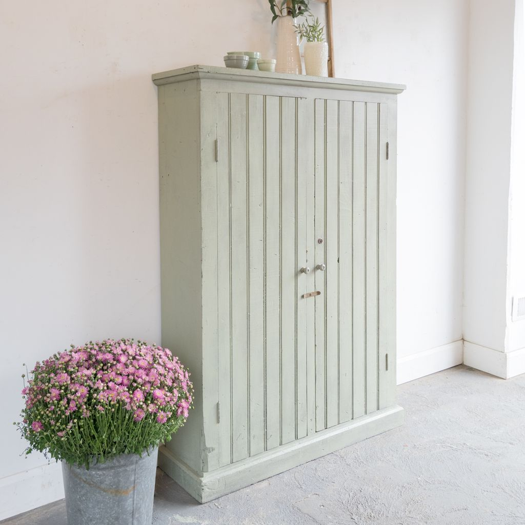 Found Painted Beadboard Cabinet with Shelves