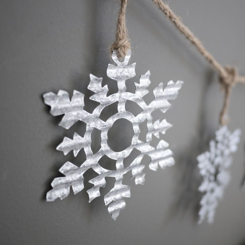 New Tin Snowflake Garland