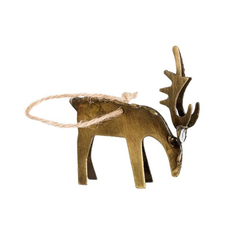 New Antiqued Brass Deer Ornament