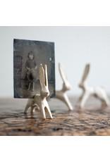 New Cast Iron Bunny Card Holder