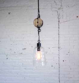 Wooden Pulley Pendant Light