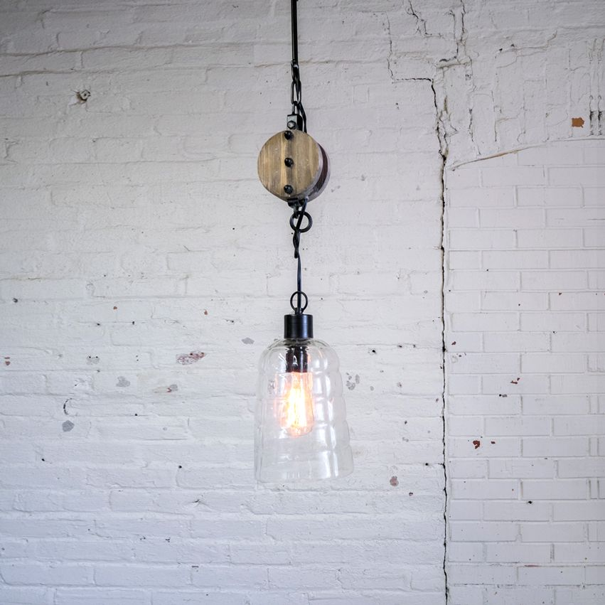 New Wooden Pulley Pendant Light
