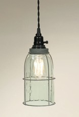 Caged Mason Jar Pendant Light - Turquoise Half Gallon