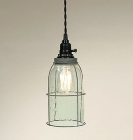 Caged Mason Jar Pendant Light - Turquoise Half Gallon