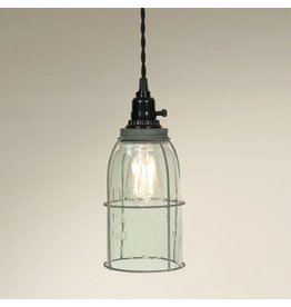 New Caged Mason Jar Pendant Light - Turquoise Half Gallon
