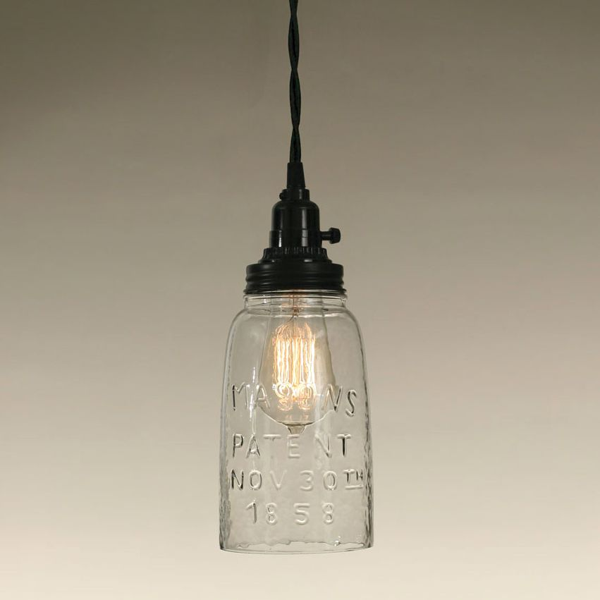 Mason Jar Pendant Light - Clear Half Gallon