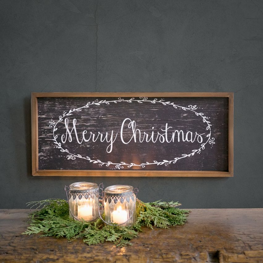 Wood Framed Merry Christmas Sign