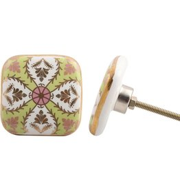 Painted Ceramic Knob - Green & Pink Design