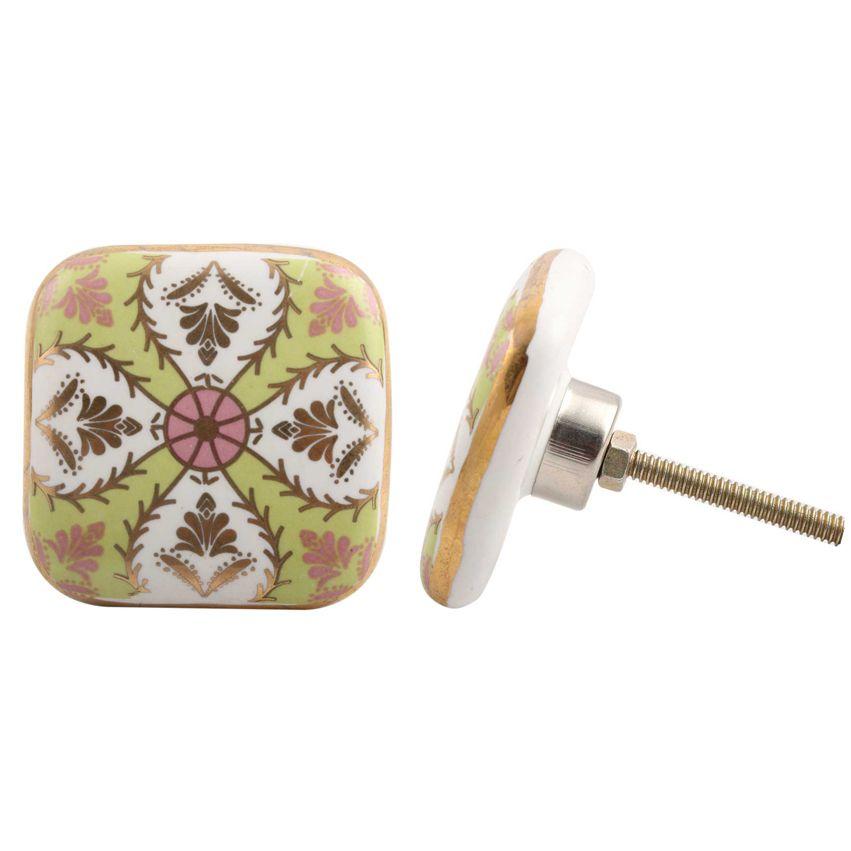 Painted Ceramic Knob - Green & Pink Design