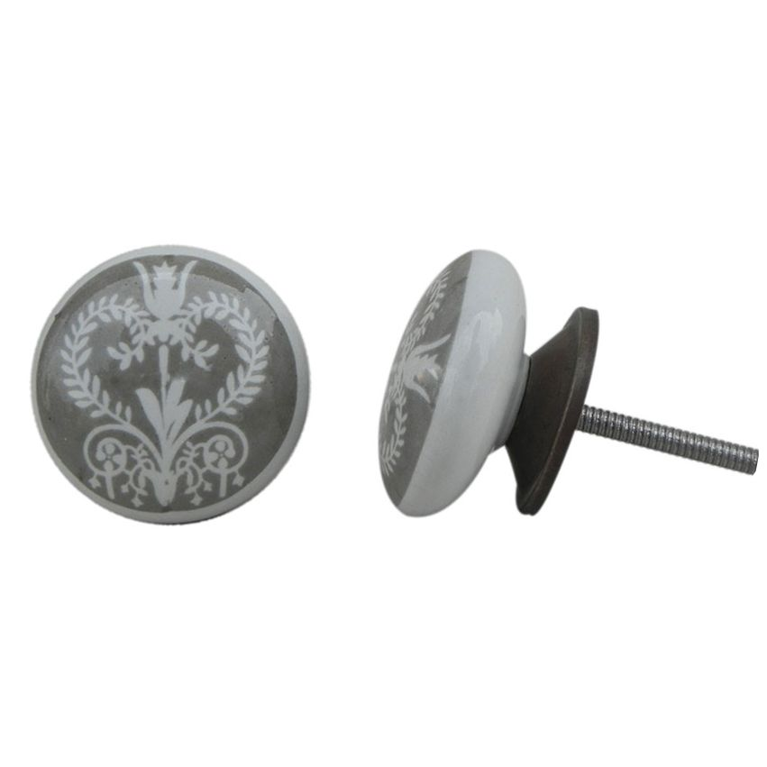 Printed Ceramic Knob - Grey & White Floral